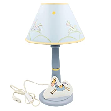Bunte Lampe für Kinderzimmer ~ Pferd ~ aus Holz mit Schirm ~ 39cm ...
