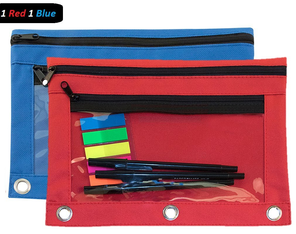 1InTheOffice Pencil Pouch 3 Ring, Red & Blue,''2 Pack''