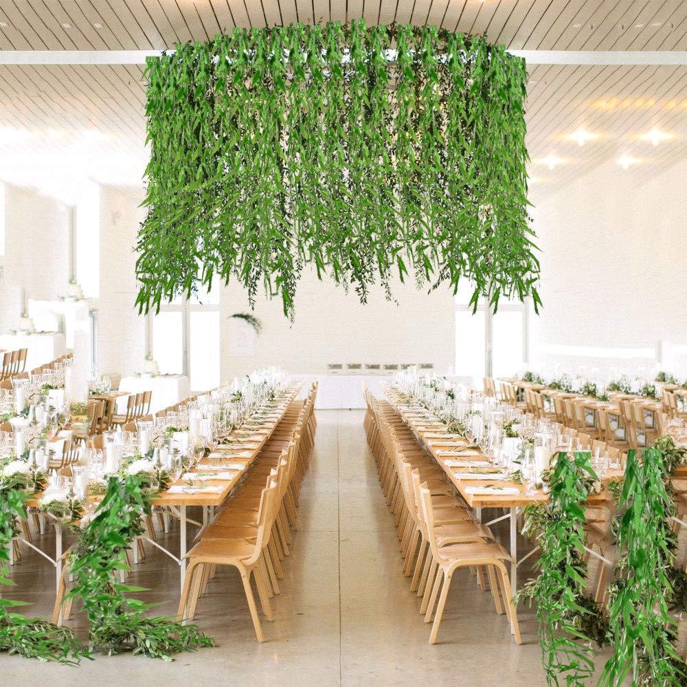 HUAESIN 2Pcs Arbustos Artificiales Exterior e Interior Simulacion Plantas Artificiales Helechos Plastico Colgantes para Oficina Hogar Hotel Restaurante Balcones Jardines Verde 30cm