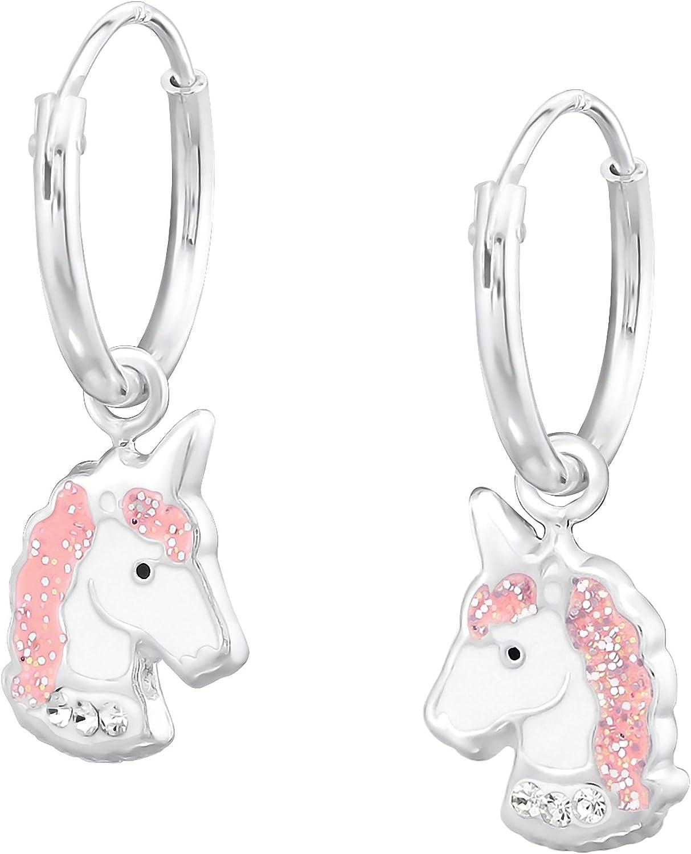 Aros infantiles con colgante de unicornio, de plata de ley 925 de Jayare, con cristales de color rosa y blanco, de 23 x 8 mm, para niña