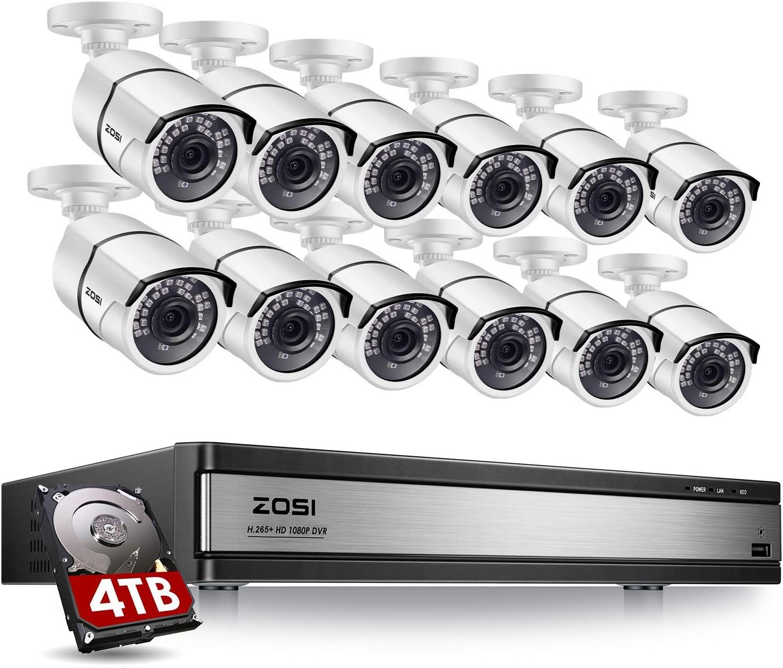 Renewed Ahd//Tvi//Cvi//Analog 4 in 1 Hybrid ZOSI 16CH 1080P Video Security Dvr Recorder with 4TB Hard Drive CCTV Home Security System for HD-Tvi Cvi Cvbs Ahd 960H//720P//1080P CCTV Cameras