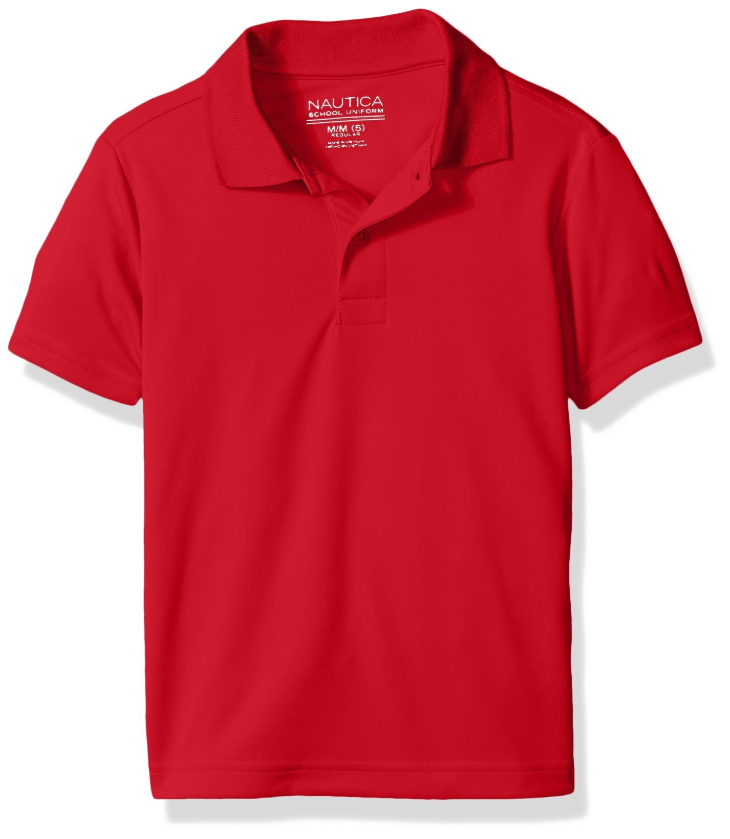 Nautica Boys' Little Boys' Uniform Short Sleeve Performance Polo, Red, Medium/5
