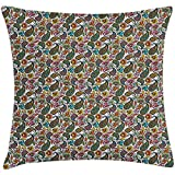 Throw Pillow Hippie Cushion Cover, Retro Style Arabian Iranian Flourish Classical Growth Lively Tones Hippie Culture, Decorative Square Accent Pillow Case, 18 X 18 Inches, Multicolor