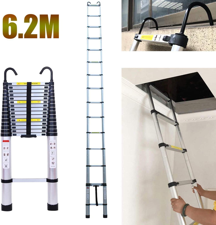 Escalera telescópica plegable de 5 m, 13 peldaños, de aluminio, extensible, para el hogar o la oficina, portátil, multiusos: Amazon.es: Bricolaje y herramientas