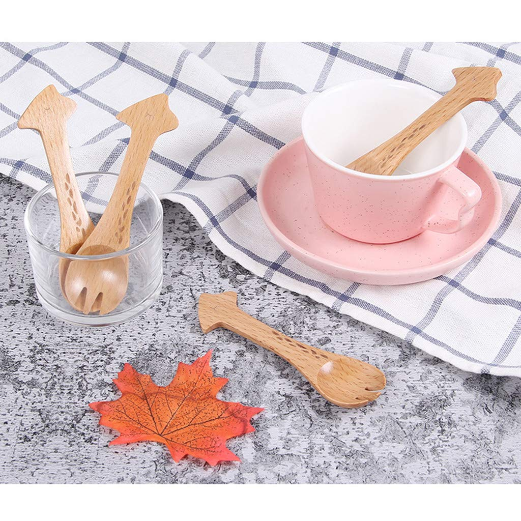 Wffo Fashion 1pcs Wood Cute Animal Pattern Kids Spoon Easy Kitchen Eating Tool Produ- Made of Wooden Material, Non-Toxic, Tasteless (A)