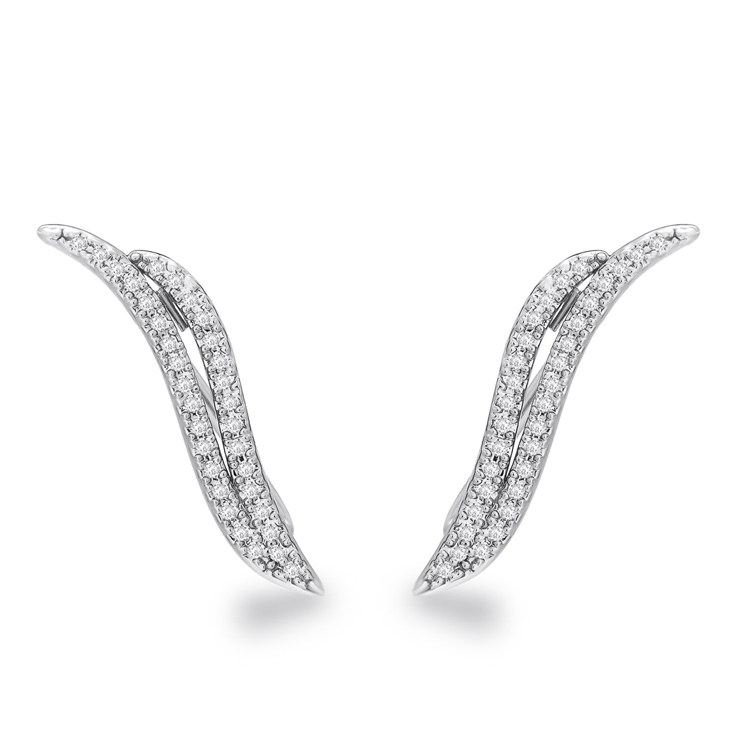 Angle Wing Ear Climbers Cuff Crawlers Stud Earrings White Gold Plated