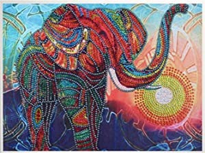 Diamond Painting DIY 5D Special Shape Rhinestones, ABEUTY Colorful Elephant Abstract, Partial Drill Crystal Diamond Art Kits