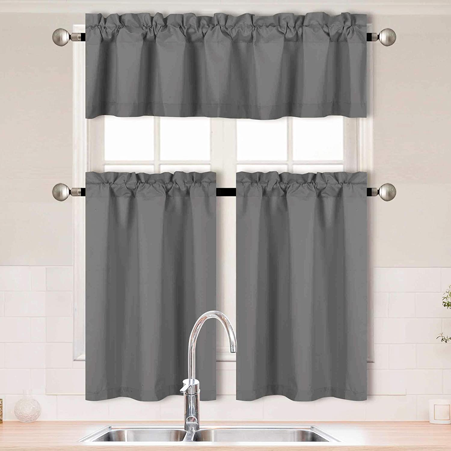 Better Home Style 3 Piece Solid Color 100% Blackout Kitchen Window Curtain Set with Tiers and Valance Solid Energy Efficient Thermal Room Darkening Drape Window Treatment # MKC  (Charcoal)