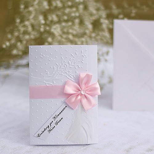 10 Personalisierte Einladungskarten Einladung Zur Taufe Einsegnung Firmung Kommunion Konfirmation Lebensbaum Tauben Feder Rosa Weiß Mädchen Handarbeit