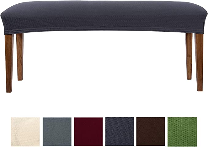 smiry Jacquard Dining Room Bench Covers, Stretch Spandex upholstered Bench Slipcover, Removable Washable Bench Protectors(17.3'' x 55.1'', Dark Grey)