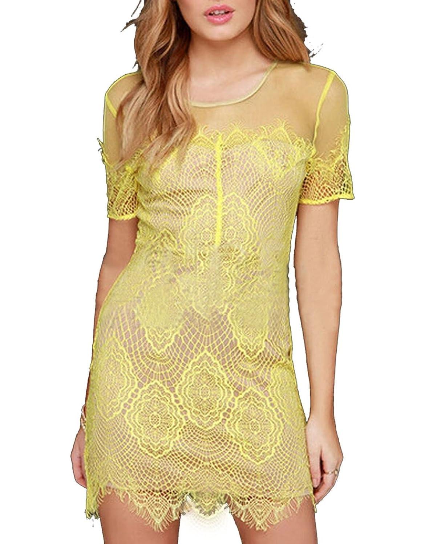 Fanala Women Yellow Hollow out Short Sleeve Slim Bag Hip Mini Dresses