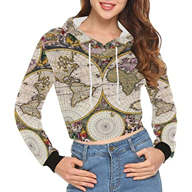 Amazon lumos3dprint vintage old world map womens cropped lumos3dprint vintage old world map womens cropped pullover hoodie sweatshirt gumiabroncs Images