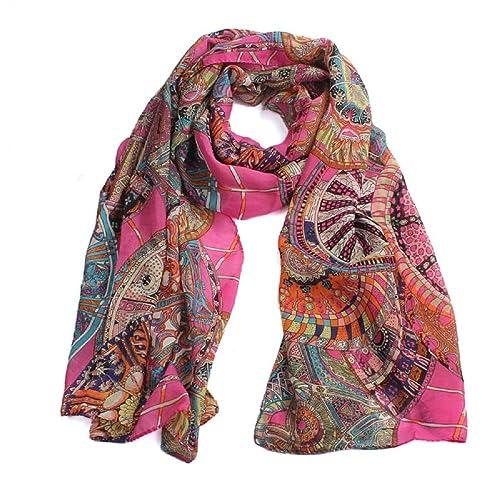 FAMILIZO Moda Mujer bufanda de la gasa de seda estampada chica largo suave chal bufanda