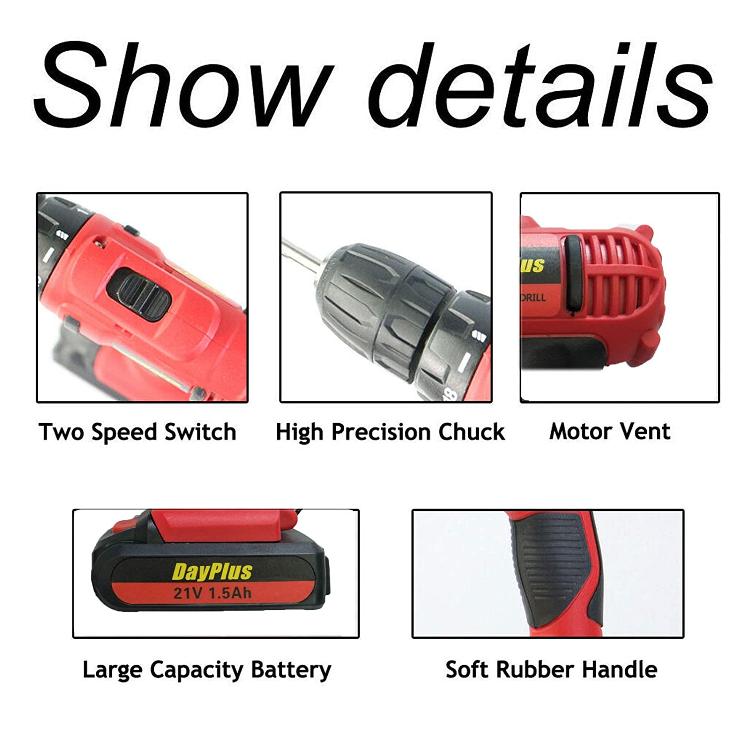 2 Batteries Kit 21V Electric Impact Drill Set Cordless Screwdriver 18+1 Torque with 1500mAh Rechargeable Lithium-ion Battery 2-Speed LED Work Light with 29pcs Drill Bits for DIY//Workshop//Garage