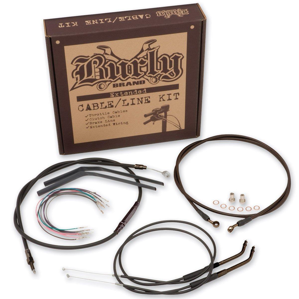 Burly Brand Black 14&Prime, Ape Hanger Cable/Brake Kit B30-1009