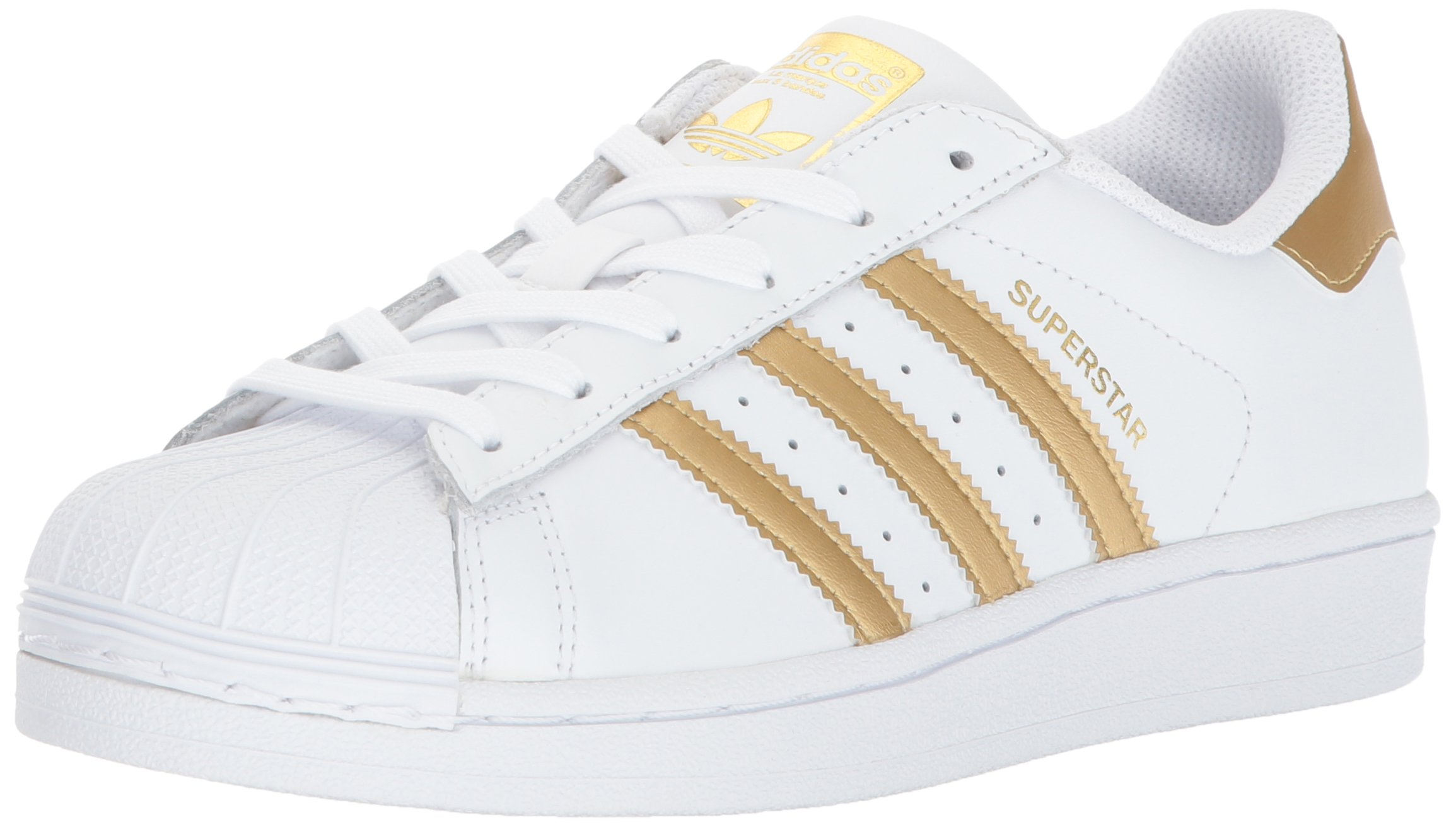 adidas Originals Unisex-Kids Superstar J Sneaker, White/Gold Metallic/Blue, 4 M US Big Kid by adidas