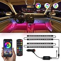 $20 » TATUFY Interior Car Lights, 4pcs 48 LED DC 12V Interior Car Lights Bluetooth App Control…
