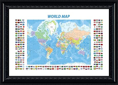 Amazon alonline art political modern flags world map black alonline art political modern flags world map black framed poster print on 100 gumiabroncs Choice Image
