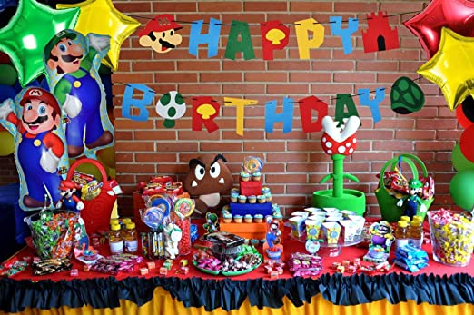 Amazon.com: RON PT Mario Birthday Party Pack-Banner-Balloons ...