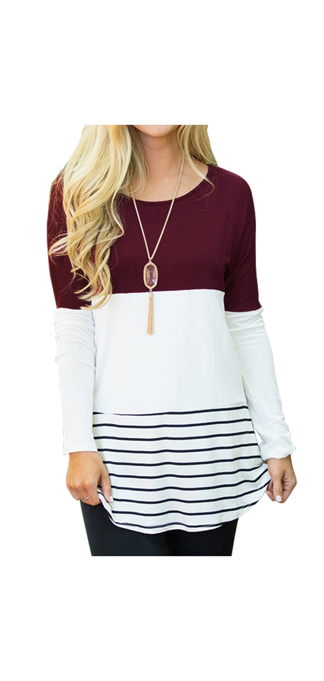 Women's Casual Color Block Lace Inset Long Sleeve T Tops