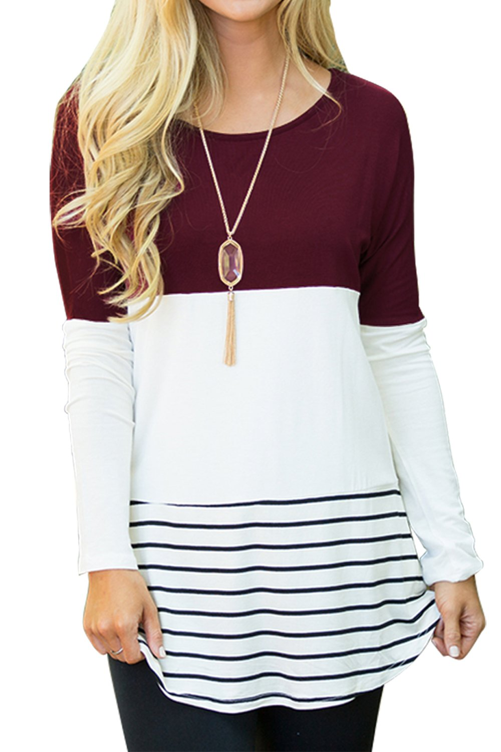 Sherosa Women's Casual Wear Striped Tops Crew Neck Back Lace Shirts (Wine Red,XL)