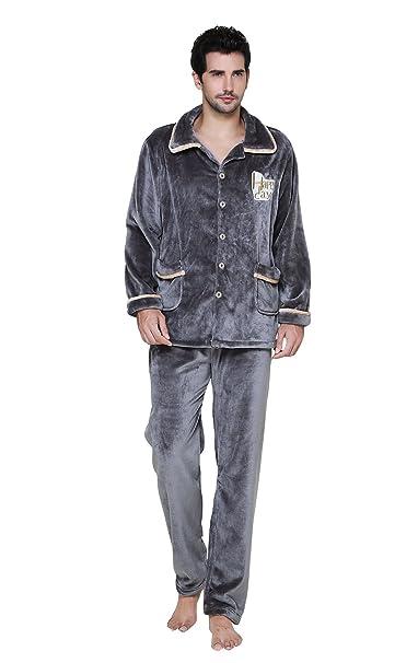 5946d27f695e Herren Warmer Warmer langärmeliger Hauspyjamas Winter Flanell Warmes Pyjama  Anzug Stand Kragen Pyjama L XL XXL