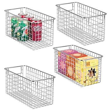 mDesign Farmhouse Decor Metal Wire Food Storage Organizer, Bin Basket with Handles for Kitchen Cabinets, Pantry, Bathroom, Laundry Room, Closets, Garage - 12  x 6  x 6  - 4 Pack - Chrome