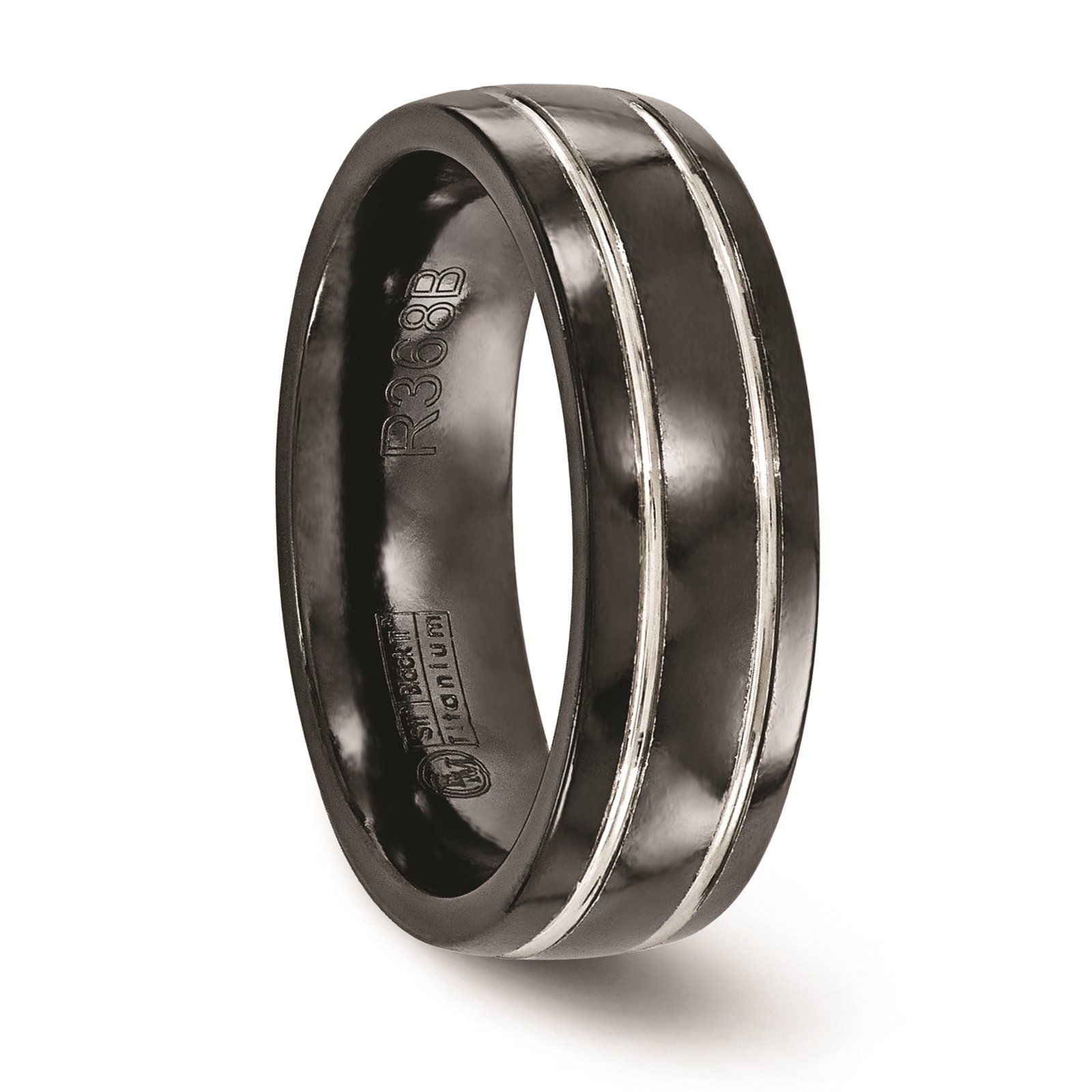Titanium Black Ti & Grey Grooved 7mm Wedding Ring Band Size 8.5 by Edward Mirell by Venture Edward Mirell Titanium Bands (Image #4)