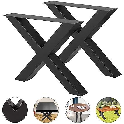 Amazon.com: VEVOR Juego de 2 patas de mesa de acero, patas ...