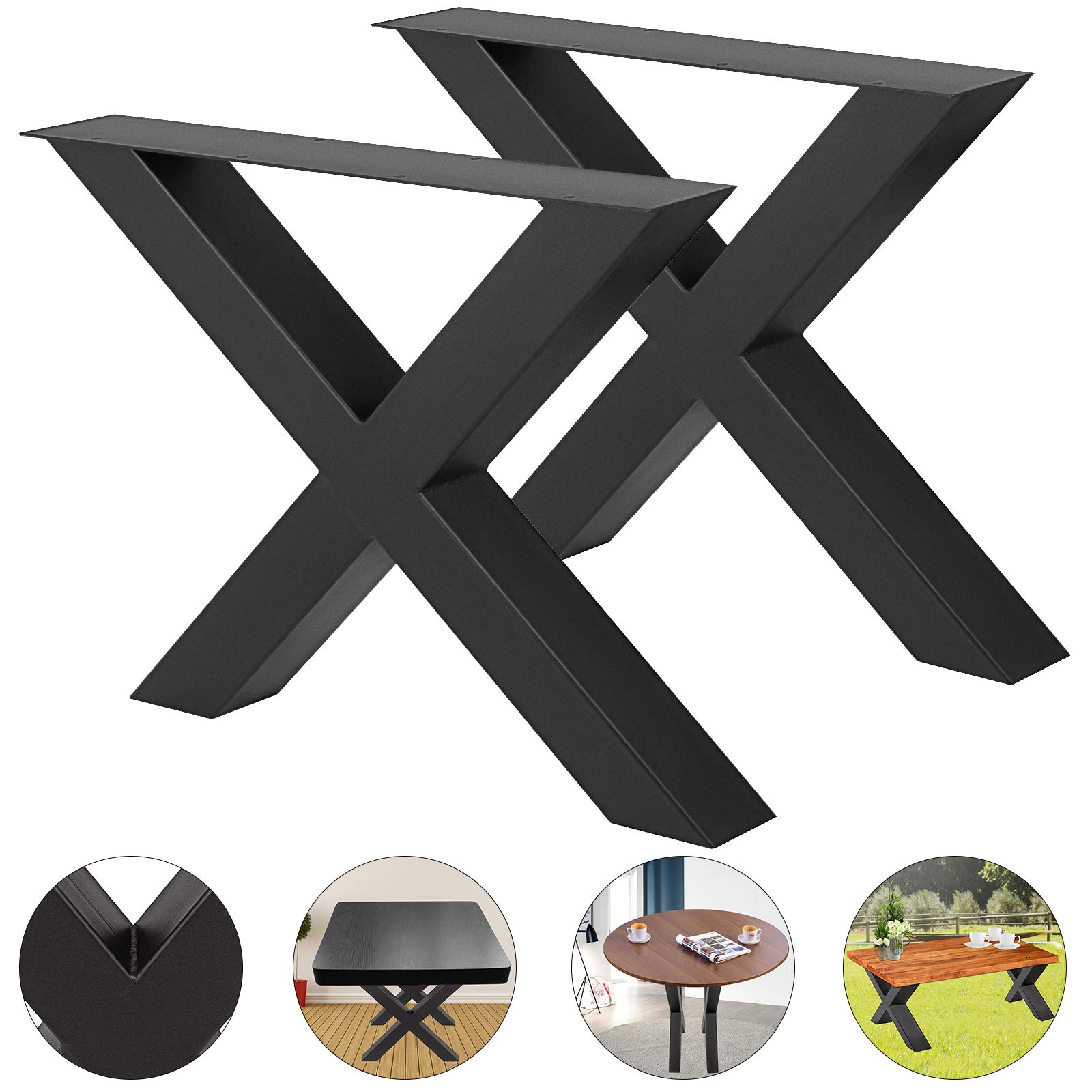 VEVOR Set of 2 Steel Table Legs 16''x15'' Dining Table Legs 16''Height 15''Wide Office Table Legs Computer Desk Legs Steel Bench Legs Country Style Table Legs DIY Furniture Legs (X-Shape/B)