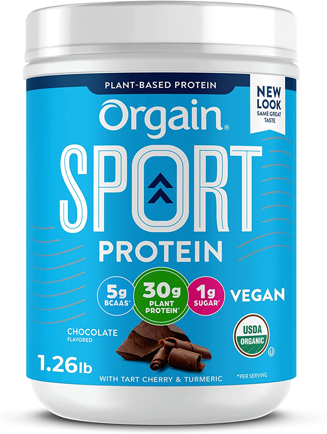 Orgain Chocolate Sport Plant-Based Protein Powder, Made with Organic Turmeric, Ginger, Beets, Chia Seeds, Cherry, Brown Rice and Fiber, Vegan, No Gluten, Soy or Dairy, Non GMO - 1.26 lbs