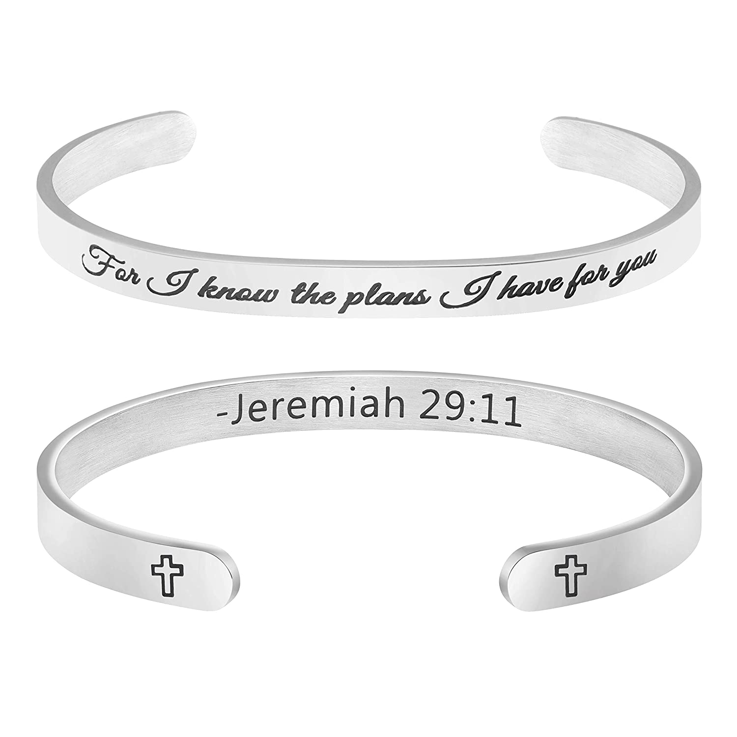 Gifts for Her Religious Bracelet Christian Jewelry Scripture Bible Verse Engraved Cuff Bangle for I Know The Plans I Have for You Jeremiah 29:11' Shiguang