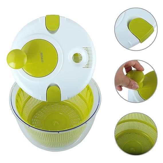 Compra OVOS Centrifugadora para ensaladas Grande 5 Cuartos de galón Frutas y hortalizas Secadora diseño de Secado rápido BPA Libre secar y drenar Lechuga y ...