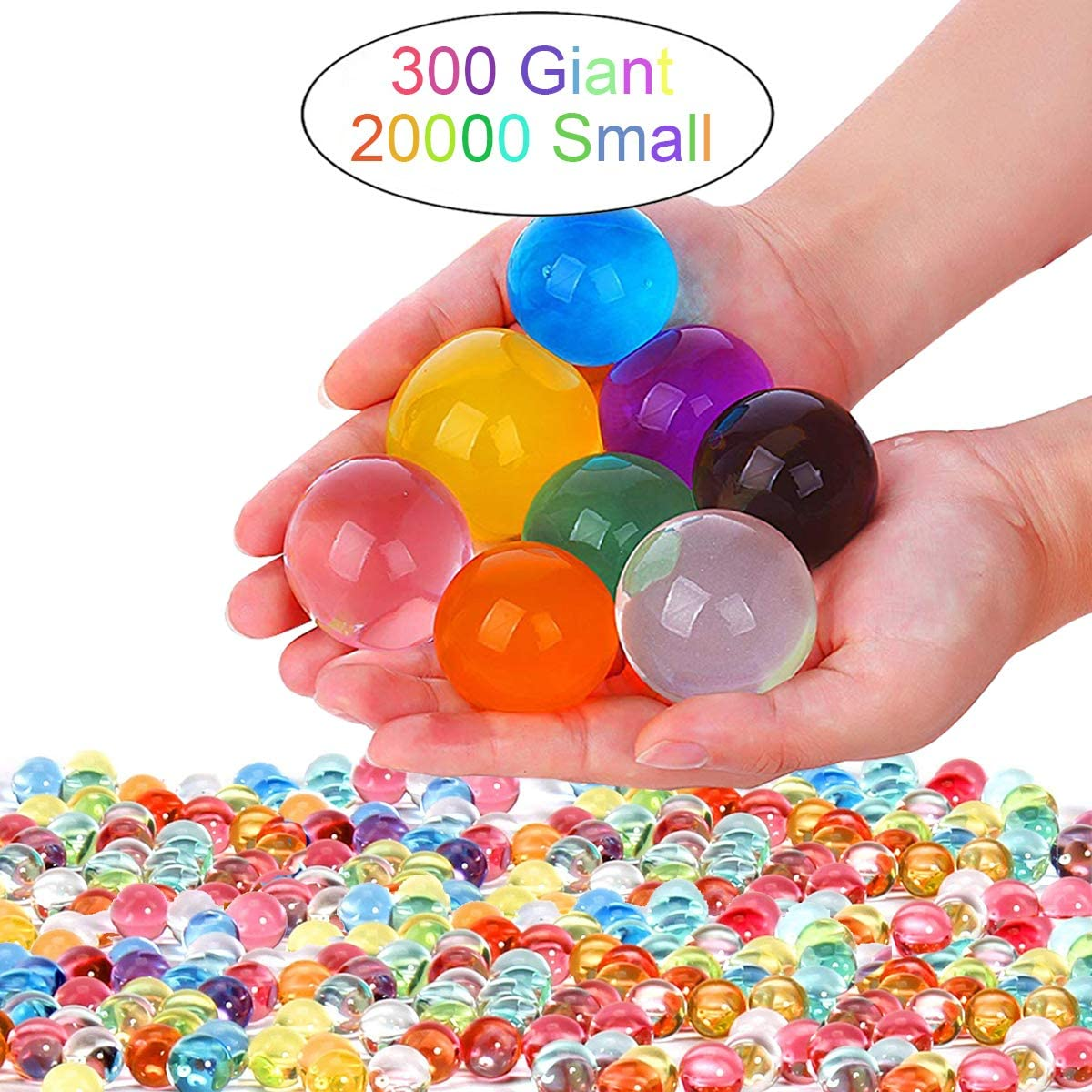 Leeche Non Toxic Water Beads Kit 300pcs Giant & 20000 Small Gel Beads for Kids-Value Package Sensory Toys and Decoration