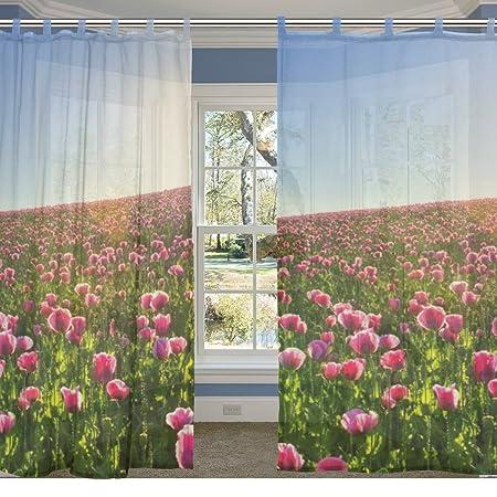 careve hermosas flores campo ventana vida cama habitación Sheer ...