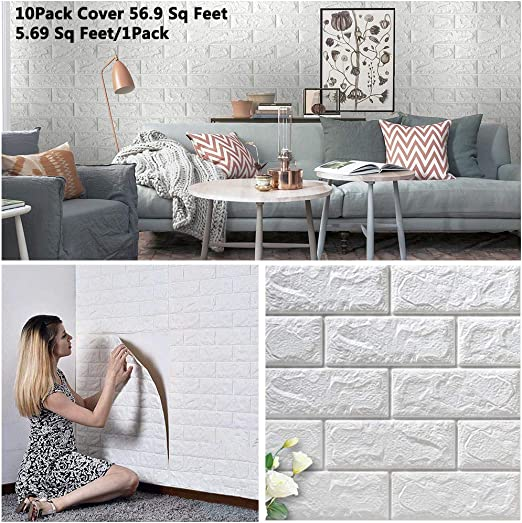 Arthome 10 Pack 56.9 Sq.Ft Faux Foam Bricks 3D Wall Panels Peel and Stick  Wallpaper for Living Room Bedroom Background Wall Decoration (White, Cover  ...