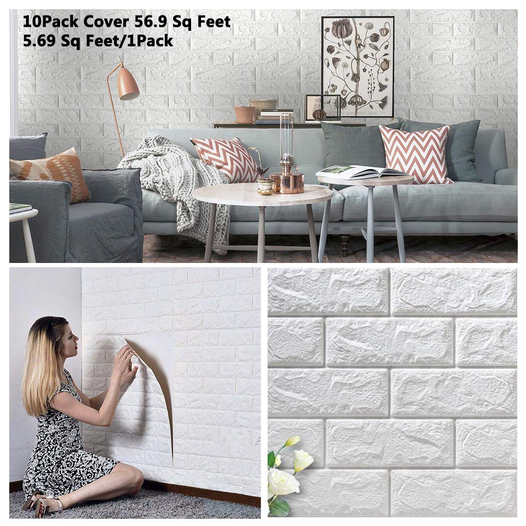 10 Pack 56.9 Sq.Ft Faux Foam Bricks 3D Wall Panels Peel and Stick Wallpaper for Living Room Bedroom Background Wall Decoration (White, Cover 56.9 sq feet) by Arthome WALL DECOR