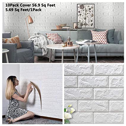 10 Pack 56 9 Sq Ft Faux Foam Bricks 3d Wall Panels Peel And Stick Wallpaper For Living Room Bedroom Background Wall Decoration White Cover 56 9 Sq