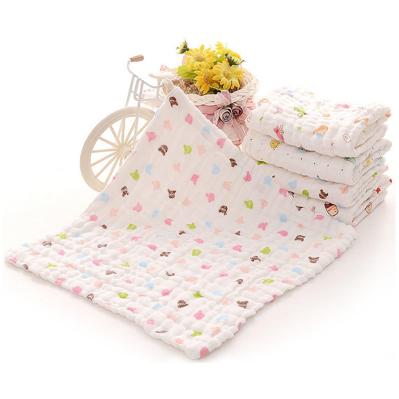 Gosear 6 Stk Super Soft Baumwolle Kind Neugeborenen Baby Handtuch Musselin Gesicht Schwei/ß Speichel Wischen Waschlappen 35 x 30 cm Random Farbe
