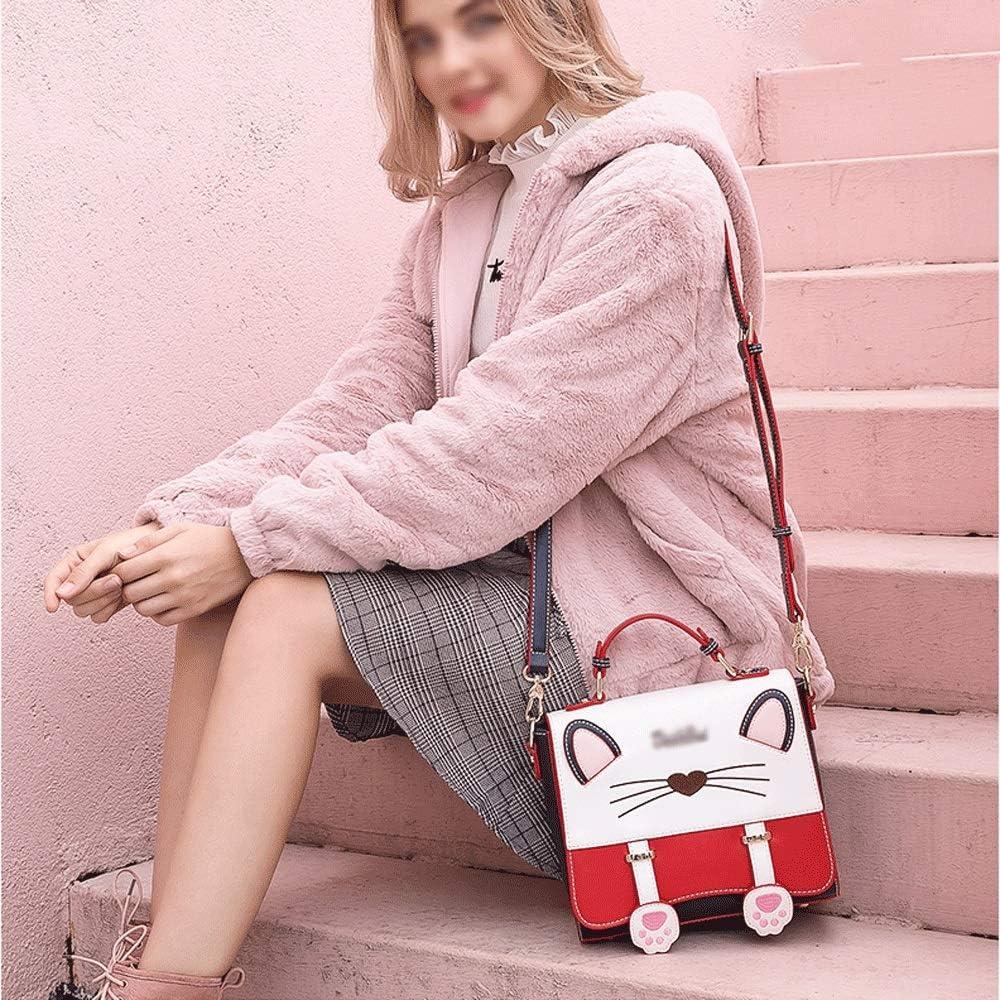 Small Fresh and Cute cat Handbag Fashion Embroidery Contrast Color Girl Small Square Bag JU FU Shoulder Bags Shoulder Bag Microfiber 2 Colors 2