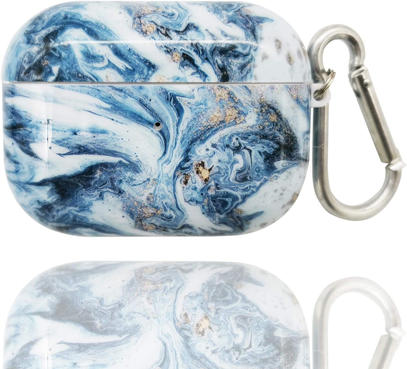 Ocean Waves Ice Blue TPU IMD Printing no dust fadeless AirPods Soft Case for Airpods 3 Cover Portable Cute Airpod Pro Case for Apple AirPods Pro Protective Shockproof Case with Keychain