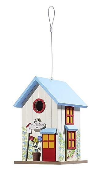 Echtholz Nistkasten Farbenfrohe Vogelvilla Vogelhaus hängend Blau