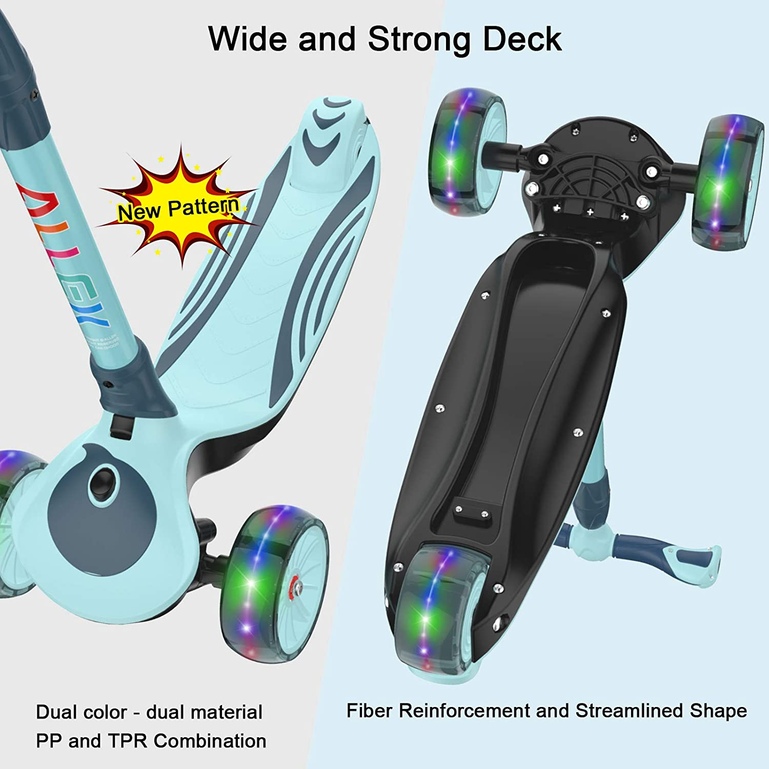 Allek F01 Folding Kick Scooter for Kids Dual Color Anti-Slip Wide Deck for Boys Girls 3-12 3-Wheel LED Flashing Glider Push Scooter with Height Adjustable and Foldable Handlebar