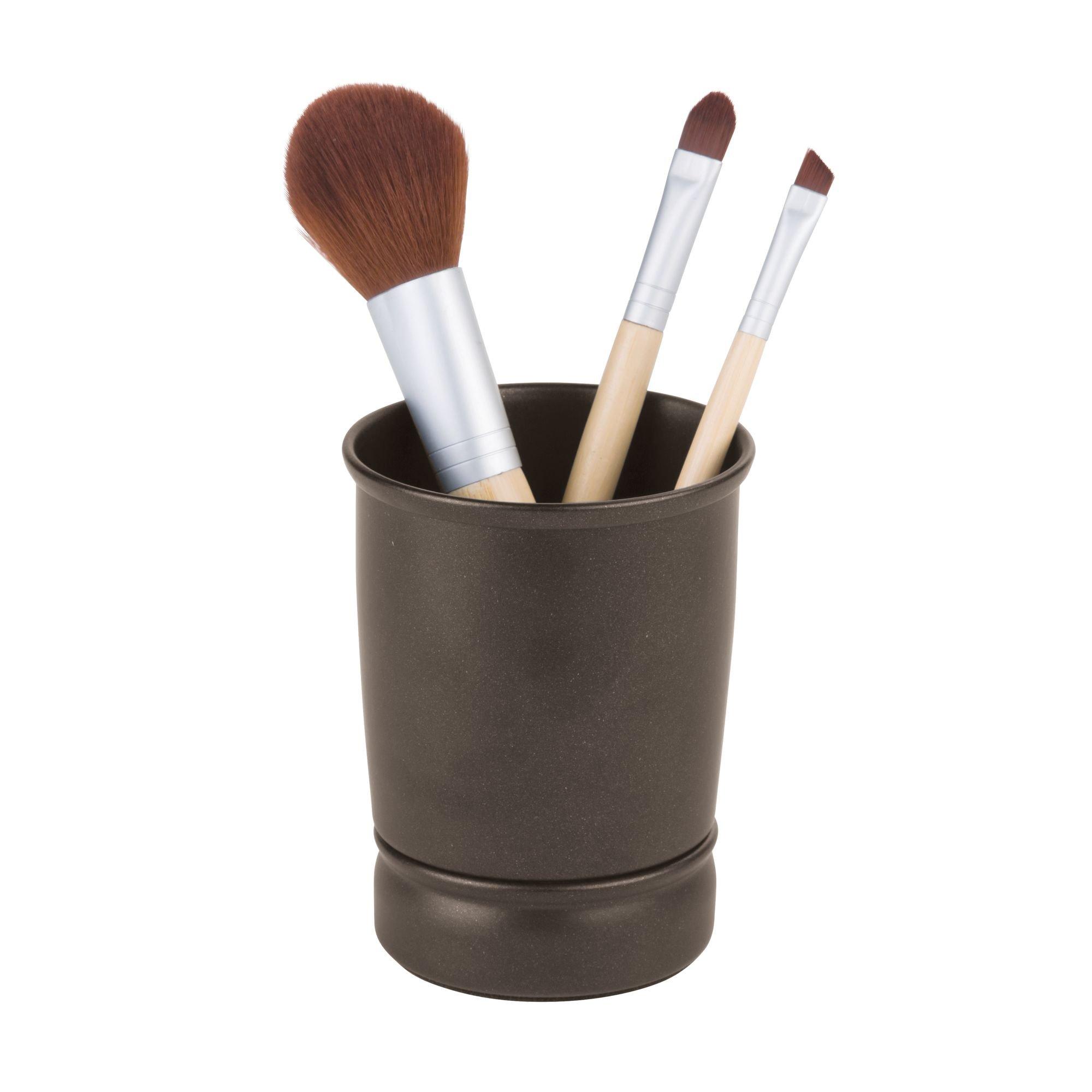 iDesign York Metal Tumbler, Makeup Brush Toothbrush Holder for Bathroom, Countertop, Desk, Dorm, College, and Vanity, 3.25'' x 3.25'' x 4.25'', Bronze by iDesign