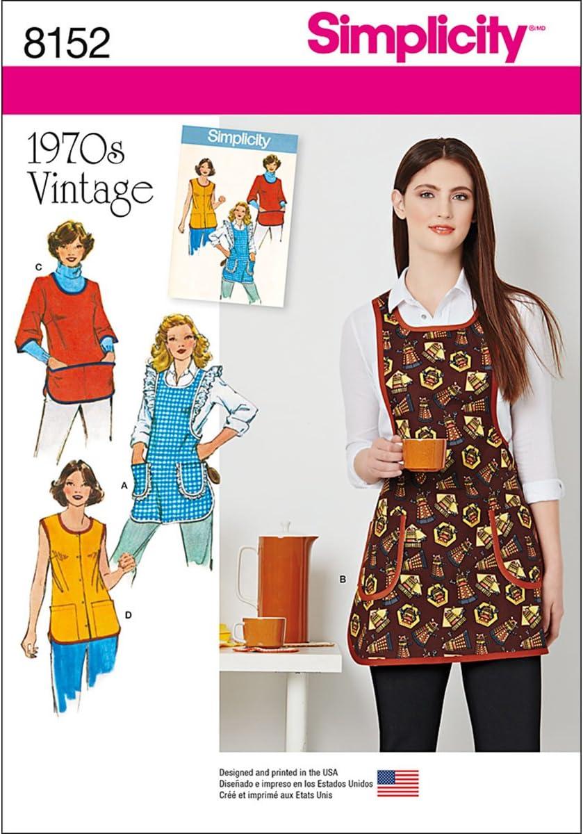 Simplicity 8152 1970's Fashion Vintage Apron Sewing Pattern, XS-L