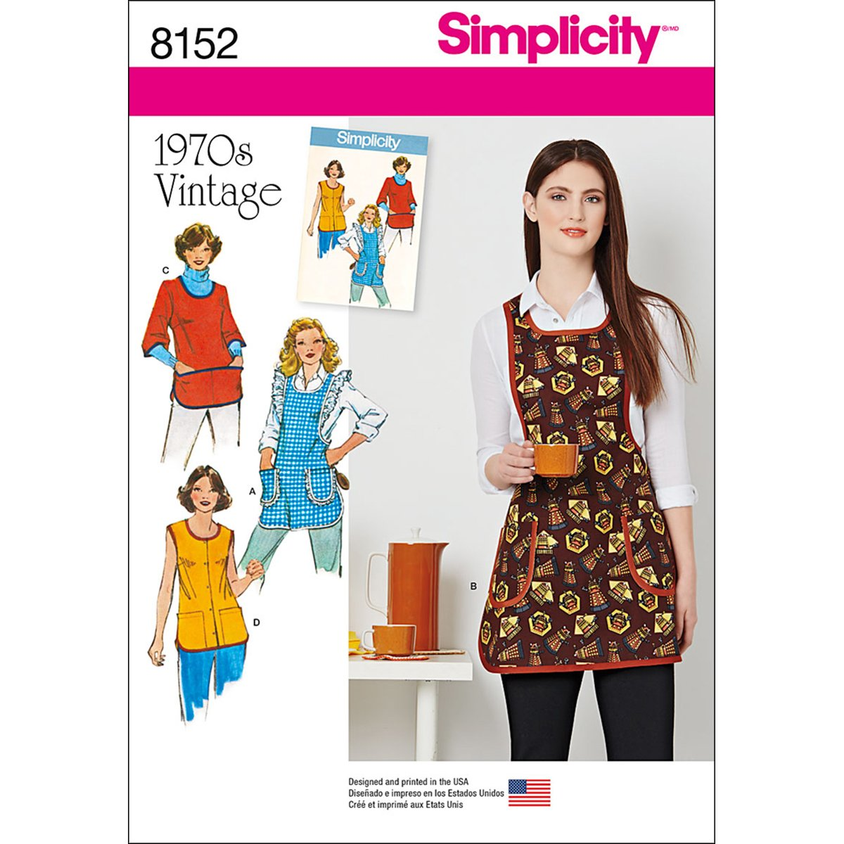 Simplicity Creative Patterns Simplicity Pattern 8152 Misses Vintage 1970s Aprons X-Small-S-M-L Size A