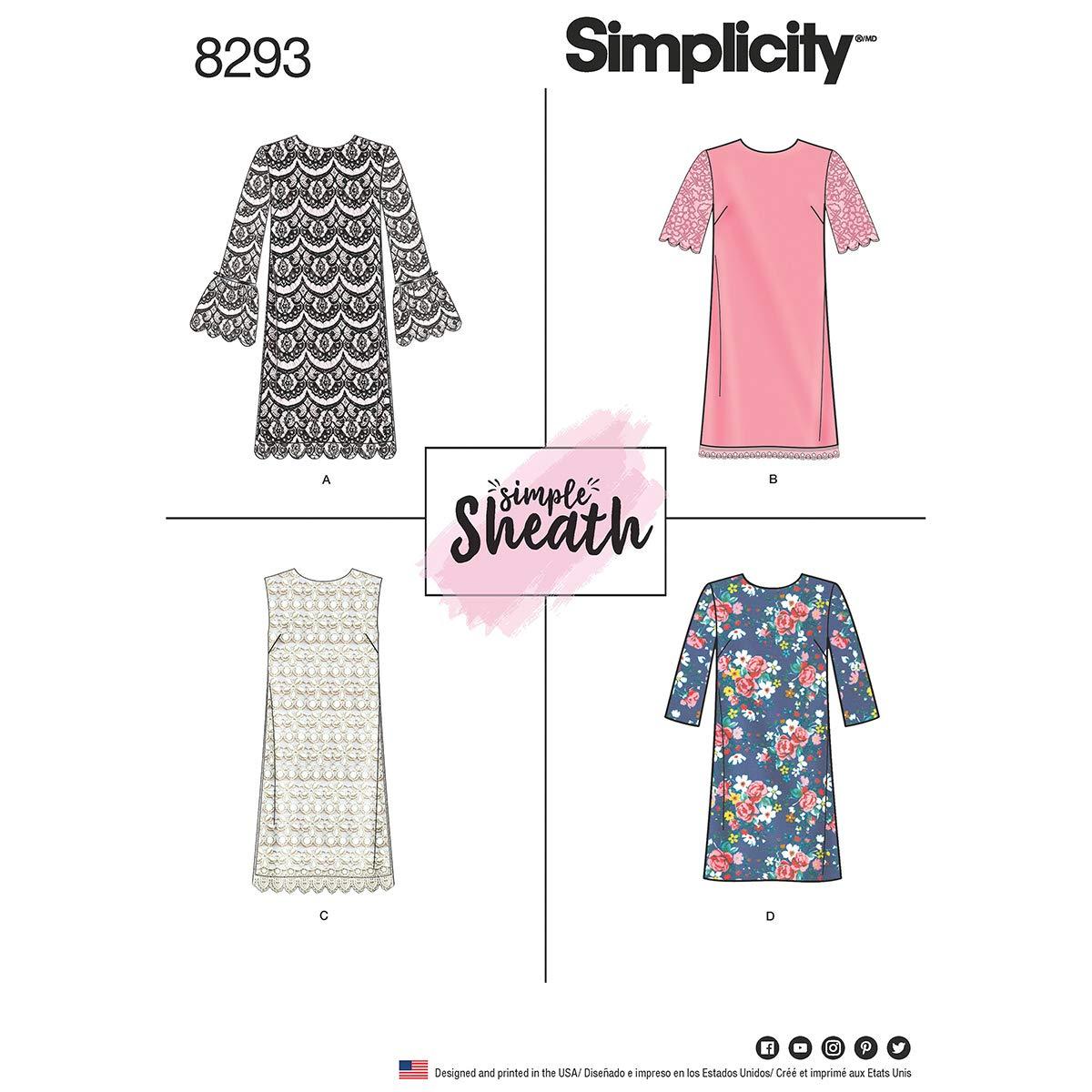 Simplicity Pattern 8293 R5(14-16-18-20-22)ミスプチドレス、ホワイト、22 x 15 x 1 cm   B01N7WR8LJ