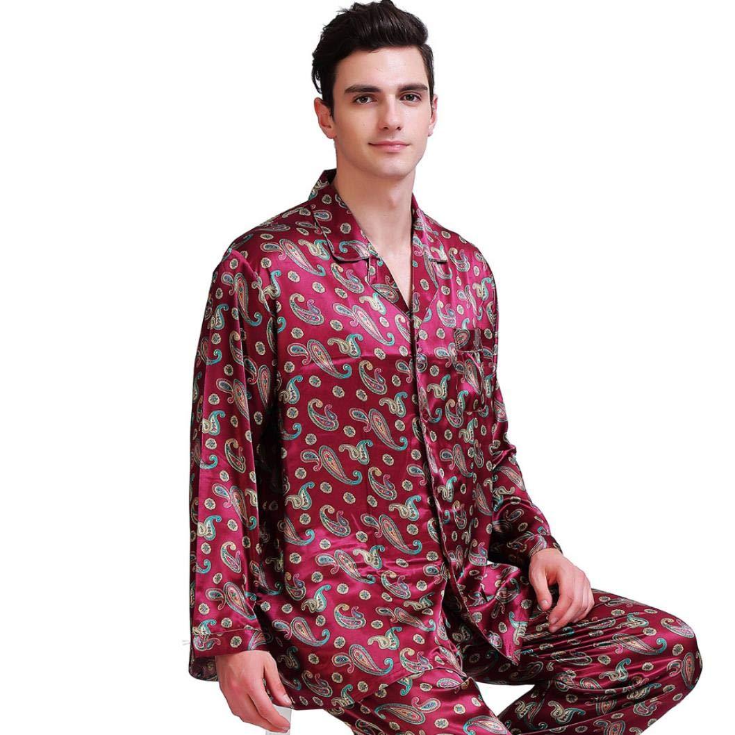 MMjyP Fashion Mens Silk Satin Pajamas Set Loungewear S,M,L,XL,XXL,3XL,4XL