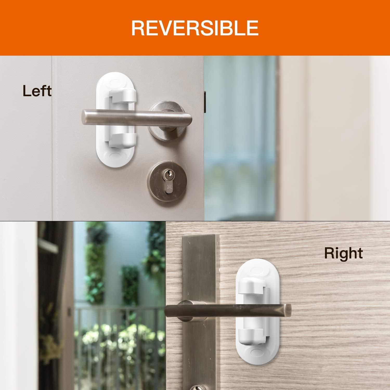Door Lever Lock- Upgrade Child Proof Doors & Handles 3M Adhesive -Child Safety Proof Door Lock (2Pack) by Good Life Home Product (Image #2)