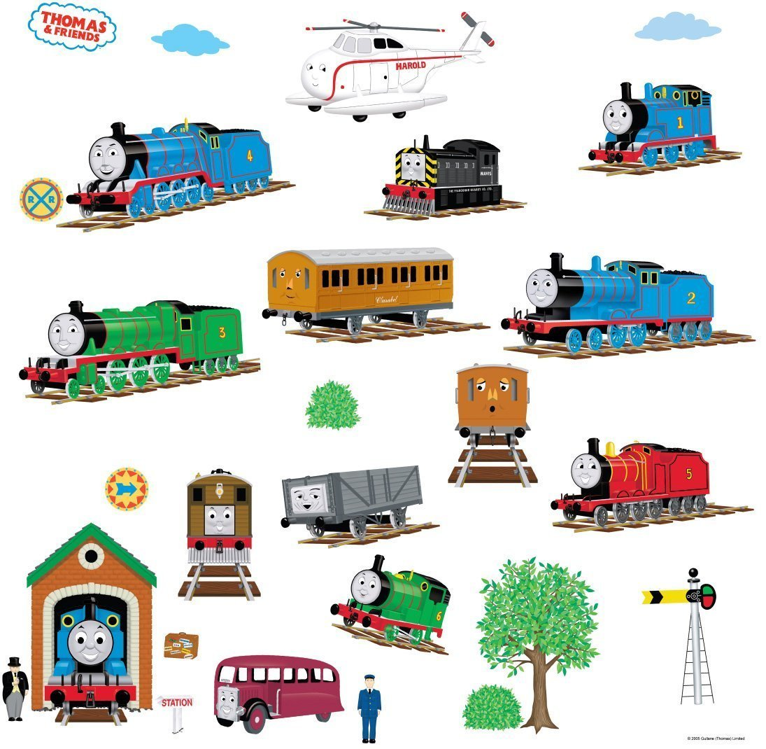 Thomas the tank engine wallpaper border - Amazon Com Roommates Rmk1035scs Thomas The Tank Engine And Friends Peel And Stick Wall Decals Set Of 27 Decals Home Improvement